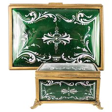 Antique French Kiln-fired Enamel Jewelry Box, Casket, RARE Green & Pink, EC  4.5""