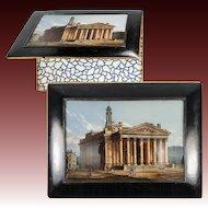 RARE Antique French Eglomise Grand Tour Writer's Folio, The Pantheon, Paris in Papier Mache