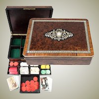 """Fine Antique French Game or Cards & Gaming Chips Set, Napoleon III Boulle Box, 13.5"""" Chest"""