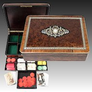 "Fine Antique French Game or Cards & Gaming Chips Set, Napoleon III Boulle Box, 13.5"" Chest"