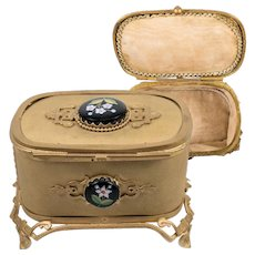 Antique Victorian Era Grand Tour Souvenir of Italy, Jewelry Box, Millefiori Glass Cabochons