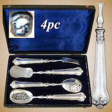 Elegant Antique French Sterling Silver 4pc Hors d'Oeuvre Implement Set, Foliate Pattern