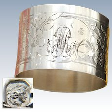 """Antique French Sterling Silver Napkin Ring, Guilloche Style Decoration, """"MR"""" Monogram"""