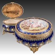 RARE Exceptional Antique French Kiln-fired Enamel Jewelry Box, Casket, Figural, Dog!