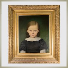 Antique French Oil Painting in Elaborate Frame, A Beautiful Portrait, A Young Boy, Lace Collar, c.1880