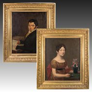 Pair, Antique French Portraits Man and Wife, Oil Painting on Linen Canvas, Fine Frames, c.1830s