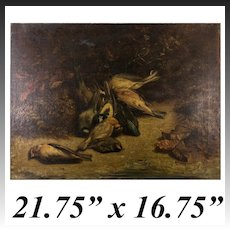 Antique French Oil Painting, Fruits of the Hunt, Artist Signed, dated 1858, no Frame