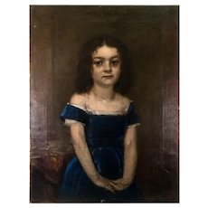 Charming Antique French Oil Painting Portrait of a Girl in Blue, no Frame, c.1830-50