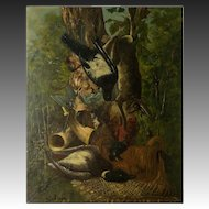 Antique French Oil Painting, Fruits of the Hunt, Game Still Life, Duck, Hare, no Frame