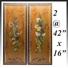 """Pair (2) 42"""" Tall Wood Panels, Oil Painting and Wildlife Scenes, in Victorian Frames"""