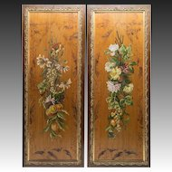 "Pair (2) 42"" Tall Wood Panels, Oil Painting and Wildlife Scenes, in Victorian Frames"