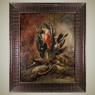 Superb Antique French Oil Painting, Nature Still Life of Birds, in Impressionist Manner, Artist Signed & In Frame