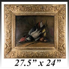"""Superb Antique French Oil Painting, Nature Morte, Signed by Artist and in Orig Frame, Still Life with Birds, 27.5"""" x 24"""""""