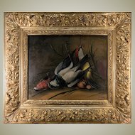 "Superb Antique French Oil Painting, Nature Morte, Signed by Artist and in Orig Frame, Still Life with Birds, 27.5"" x 24"""