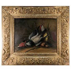 "Superb Antique French Oil Painting, Nature Morte, Signed by Artist and in Orig Frame, Still Life with Birds, 27.5"" x 24"", Fruits of the Hunt"