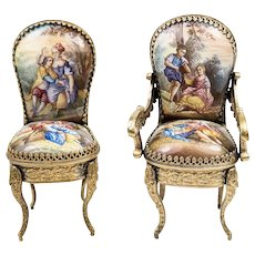 Exceptional Pair (2) Antique Vienna or French Kiln-fired Enamel Miniature Chairs, Figural