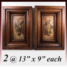 Pair: 2 Antique Oil Paintings on Wood Board, in Frame, Trompe l'Oeil Birds, Each One Hanging,