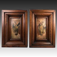 Pair: 2 Antique Oil Paintings on Wood Board, in Frame, Trompe l'Oeil Birds, Each One Hanging,