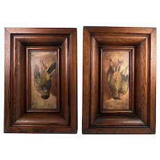 Pair: 2 Antique Oil Paintings on Wood Board, in Frame, Trompe l'Oeil Birds, Each One Hanging, Fruits of the Hunt