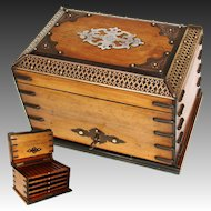 "Antique Victorian Era 10"" Tantalus Style Cigar Presenter, Chest, Trays for 50 Cigars"