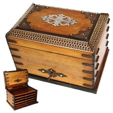 """Antique Victorian Era 10"""" Tantalus Style Cigar Presenter, Chest, Trays for 50 Cigars"""