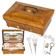 Antique c. 1800s French Sewing Box, Implements with 12-14k Gold, Palais Royal Set, Thimble, Scissors, Needle Case +