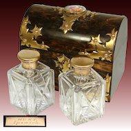 Antique Victorian Era Coromandel & Gilt Bronze Gothic Style Double Scent Casket, Opulent Box