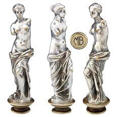 """Antique Napoleon III Era Silvered Bronze Wax Seal or Sceau Sculpture, Venus de Milo, """"MB"""" Monogram"""