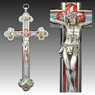 "Antique Italian 8 1/8"" Micro Mosaic Altar Style Crucifix, Marked by Maker ""Stocker"", ""Roma"""