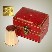 Fine Vintage Swedish 18k Gold & Carved Carnelian Sewing Thimble, Fitted Box or Etui