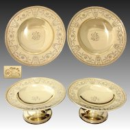 "Gorgeous Antique 1917 Whiting 14k Gold on Sterling Silver 8"" Raised Compote or Plateau Pair, Empire Style Pattern"