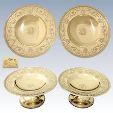 """Gorgeous Antique 1917 Whiting 14k Gold on Sterling Silver 8"""" Raised Compote or Plateau Pair, Empire Style Pattern"""