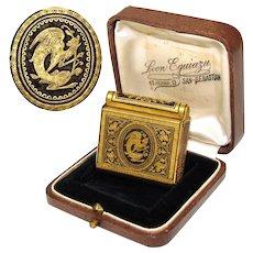 RARE Antique 14k Gold Damascene Inlay & Steel Match Case or Vesta, Winged Griffin Inlay & Original Box