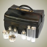 "Rare Large Antique Victorian Era 15"" P. SORMANI Marked Travel Case, Crown Engraved Sterling Silver Jars +"