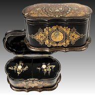 "Antique Victorian Jennens & Bettridge 10"" Papier Mache Casket, Box, Tea Caddy, Double Well, EC w Key"