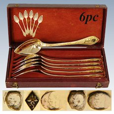 Stunning Antique French 1819-1838 Vermeil Silver 6pc Teaspoon Set, Winged Angel or Cherub Figures, Box or Etui