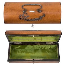 """Souvenir"" Early 1800s French Lemonwood Sewing Casket, Box, Jewelry Now"