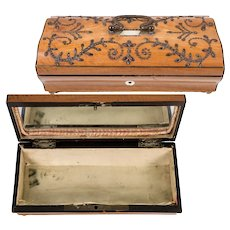 Antique c.1700s French Sewing Box, Lemonwood and Cut Steel Pique Work, MOP