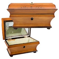 Antique c.1820s French Palais Royal Sewing, Jewelry Box, Lemonwood, Missing Tools