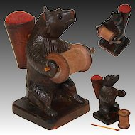 Charming Antique Hand Carved Black Forest Bear Sewing Stand, Thread, Pin Cushion