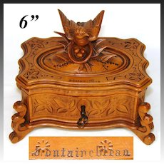 "Lovely Antique Black Forest Carved Jewelry Casket, Animalier Bird Figure, ""Fontainebleau"" Souvenir"