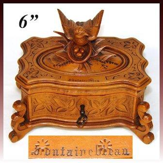 "Lovely Antique Black Forest Carved Jewelry Casket, Animalier Bird Figure, ""Fontainebleau"" Souvenir"