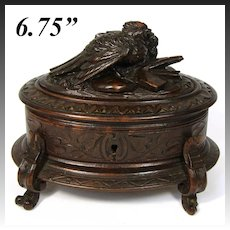 Antique Black Forest Carved Wood Jewelry Box, Casket with Game Hen, c.1880s Hunt Theme, Animalier
