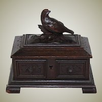 "Antique Black Forest Carved 5.5"" Jewelry Casket, Box: Flowers, Foliage & Bird Figural Top"