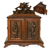 Antique Black Forest Desk Cigar Cabinet, Chest, Box, Presentation Server - not Humidor, Game Birds
