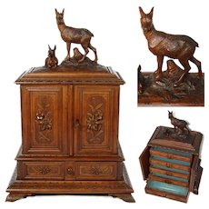 """Fabulous Antique Black Forest Carved 17"""" Jewelry Chest, Cabinet, Edelweiss Flowers, Chamois or Deer with Fawn"""
