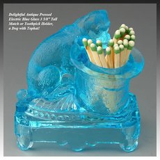 Antique Belmont Glass Electric Blue Match or Toothpick Holder, Dog with Tophat