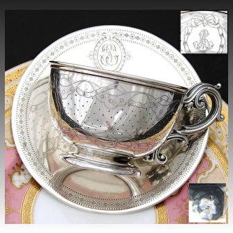 LG Antique French Sterling Silver Chocolate, Bouillon or Tea Cup with Saucer, Bow & Ribbon Decoration