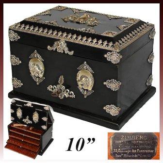 "Antique French Napoleon III 10"" Cigar Chest, Box, Presenter: Hunt Theme Horse & Dog Appliques"