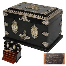"Antique French Napoleon III 10"" Cigar Chest, Box, Presenter: Hunt Theme Horse & Dog Appliques"